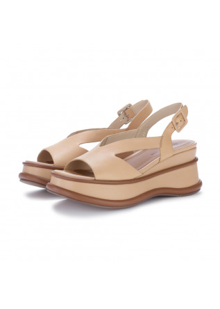 womens wedge sandals elvio zanon beige brown