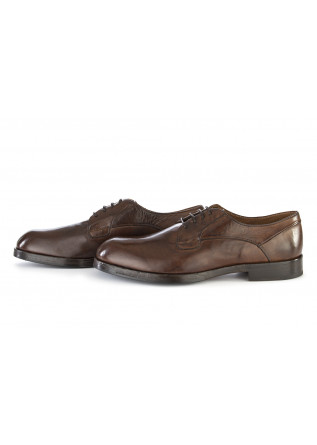 MEN'S SHOES FLAT LACE UP SHOES LEATHER COFFEE BROWN DELAVE'