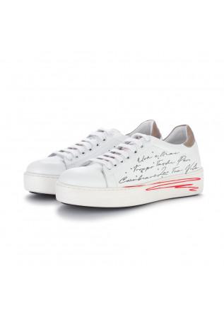 sneakers donna bueno bianco marrone scritta