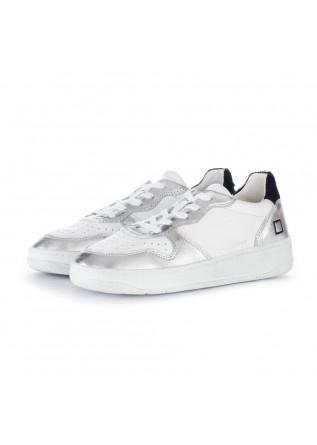 sneakers donna date court pop bianco argento