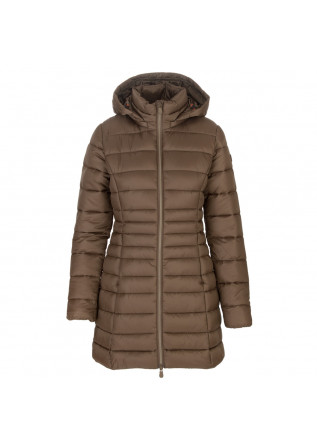 womens puffer jacket save the duck reese brown
