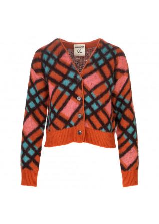 womens cardigan semicouture orange multicolor