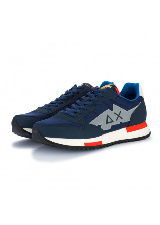 mens sneakers sun68 niki solid navy blue