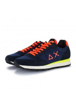 mens sneakers sun68 tom fluo navy blue