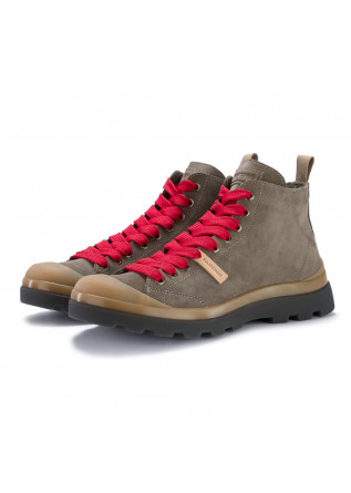mens lace up ankle boots panchic grey red