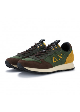 mens sneakers sun68 tom goes camping green brown