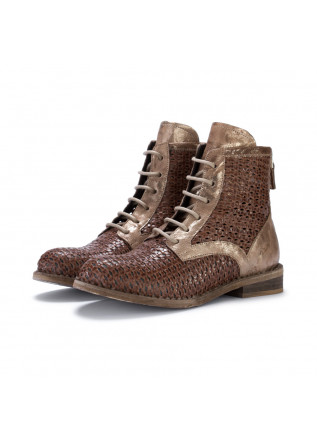 womens lace up ankle boots just juice intreccio brown