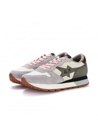 womens sneakers sun68 stargirl glitter cream white grey