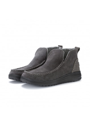 womens ankle boots hey dude denny suede grey