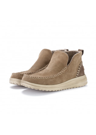 womens ankle boots hey dude denny suede beige