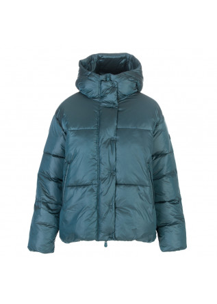 womens puffer jacket save the duck glam nicki teal blue