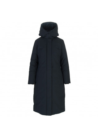 womens long puffer jacket save the duck khaleesi blue