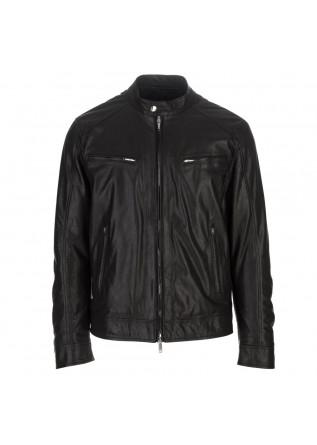giacca pelle uomo dondup nero