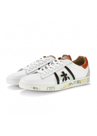mens sneakers premiata andy white brown orange