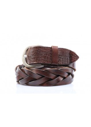 MEN'S ACCESSORIES BELT WOVEN LEATHER ROUNDED BUCKLE  BROWN ORCIANI