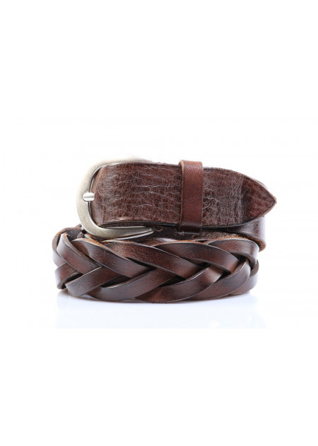 MEN'S ACESSORIES BELTS BROWN ROUNDED BUCKLE ORCIANI
