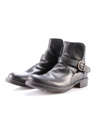 MEN'S SHOES BOOTS BLACK BRASS BUCKLE FIORENTINI + BAKER