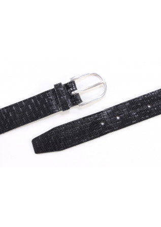 MEN´S ACCESSORIES BELT BLACK  ROUNDED BUCKLE ORCIANI