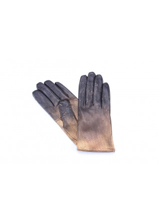 WOMEN´S ACCESSORIES GLOWES LEATHER BLACK / GOLD 5 FINGERS