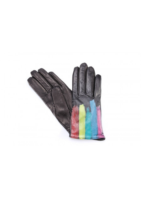 ACCESSORI DONNA GUANTI PELLE NAPPA NERO / MULTICOLOR 5 FINGERS